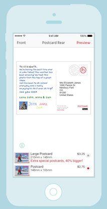 Postsnap postcard add text and address