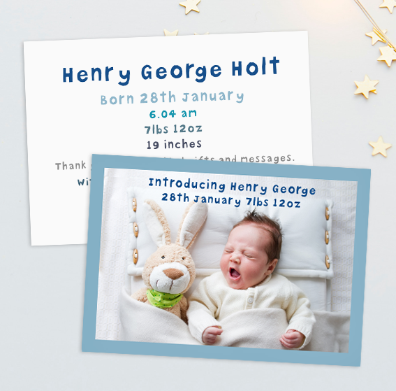 Announcement card image baby small